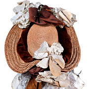 Antique French Bebe Straw Hat circa 1880