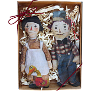 Boxed Gift Pair of Early Raggedy Ann & Andy Cloth Doll Ornaments