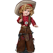 "Large 22"" Shirley Temple as Texas Ranger Cowgirl"