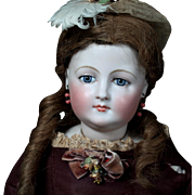 SOLD Pale Bisque Early French Fashion Doll in Antique Clothing