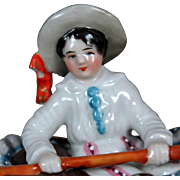 Victorian Porcelain Trinket Box Boy in Rowboat