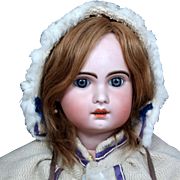"Large 32""  French Bebe Jumeau in Victorian Winter Coat, Muff"