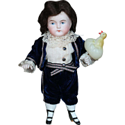 ABG All Bisque Doll as Lord Fauntleroy with Cute Celluloid Duck