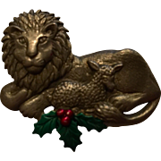 Pewter Lion and Lamb Christmas Brooch signed JJ