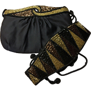REDUCED Black Satin and  Beaded Purse & Belt