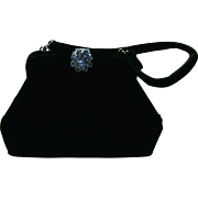 REDUCED Small Black Velvet Purse with Rhinestone Closure