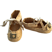 Leather French/German Doll Shoes with Keystone Mark
