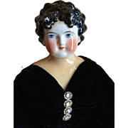 """Dolley (Dolly) Madison Tinted China Head Doll 22"""""""