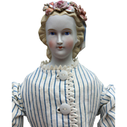 """Blonde Parian Shoulder Head Doll with Molded Flowers in Hair 16"""""""