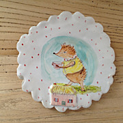 SOLD Charming Hand Painted Small Pottery Dish by Julie Whitmore Hedgehog, House