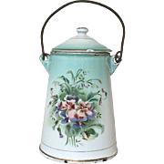 SOLD Wonderful Antique French Floral Enamelware Milk Carrier Wildflowers