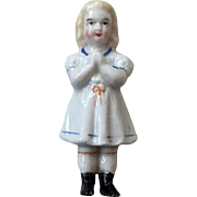Charming Rare Antique Frozen Charlotte China Doll Molded Dress