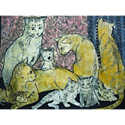 Signed & Numbered Wood Block Print Cats & Kittens