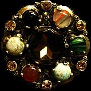 Scottish Glass Agate & Rhinestone Circle Brooch/Pendant