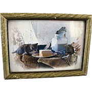 Framed John Wagner Large Photo Card/Kitten & Butter