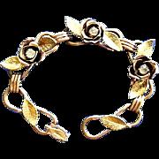 SALE Copper, Gilt & Rhinestones  Flower Bracelet Marked Coro