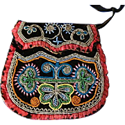 SOLD Antique Hand Beaded Iroquois Floral Motif Purse