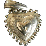Large Sterling Silver Heart Pendant w/ Large Sterling Silver Bale