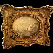Vintage Florentine Carved Gesso Recessed Picture Frame & Vintage Print