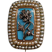 A Georgian 9ct Gold, Seed Pearl, Diamond and Enamel Brooch. Circa 1830.