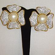 Gold-Tone and Rhinestone Petal Clip-On Earrings