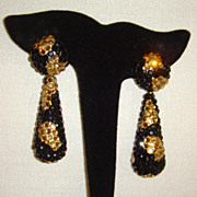 Richard Kerr Black and Champagne Crystal Dangle Earrings