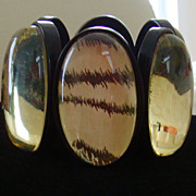 Clear and Black Lucite W/Zebra Print Bracelet
