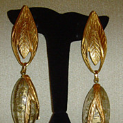 Matte Gold-Tone and Lucite Italian Dangle Clip-On Earrings