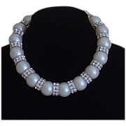 Off-White Faux Pearl and Clear Rhinestone Necklace