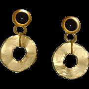 Norma Jean Matte Gold-Tone and Black Dangle Earrings