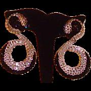 Black and Clear Rhinestone Dangle Earrings