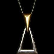 Trifari Modernist Gold-Tone and Silver-Tone Necklace