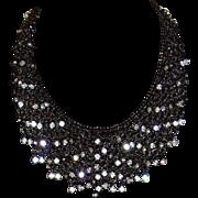 Graziano Gunmetal and Rhinestone Bib Style Necklace