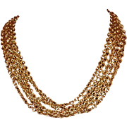 Multi-Strand Gold-Tone Choker Style Necklace