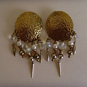Goldtone Hammered Disc and Five Dangle Earrings