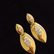 Goldtone and Rhinestone Dangle Clip Earrings