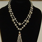 Simulated Double Strand White Pearl Necklace