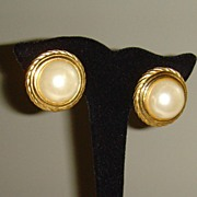 Gold-Toned and Simulated Pearl Clip-On Earrings