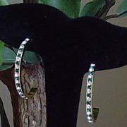 Half Circle Gold-Toned and Rhinestone Pierced Earrings