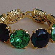 Gold-Toned and Green Glass Bracelet