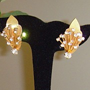 Rhinestone and Gold-Toned Textured Clip-On Earrings