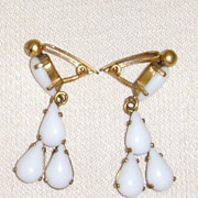 Gold-Toned and Milk Glass Dangle Earrings