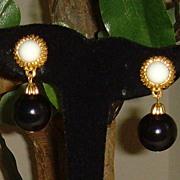 Navy and White Dangle Earrings
