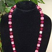 Lucite Cube and Ball Necklace