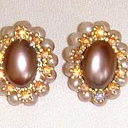 Simulated Pearl and Rhinestone Earrings