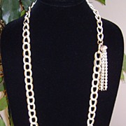 Gold-Tone and Enamel Chain Link Necklace