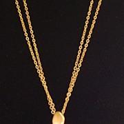 Matte Gold-Tone Free Form Circle Pendant Necklace
