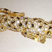 Gold-Tone and Rhinestone Leopard Should Pin