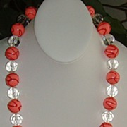 Lucite Clear and Pink Bead Necklace