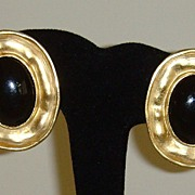 Matte Gold-Tone and Black Clip-On Earrings